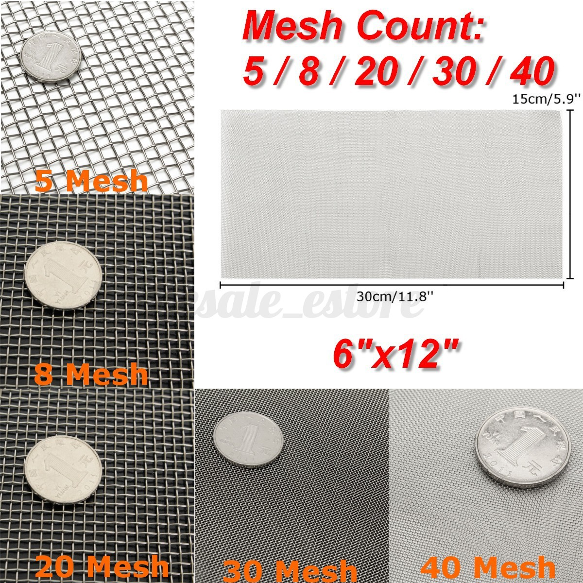 8//10//100//300//500 Mesh 304 316 Stainless Steel Woven Wire Filtration Sheet Set