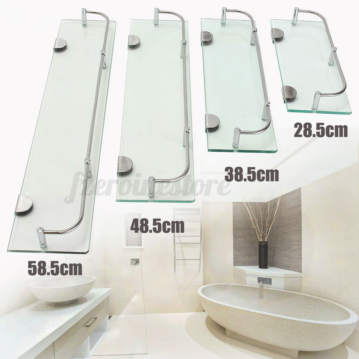 Glass shelves bathroom