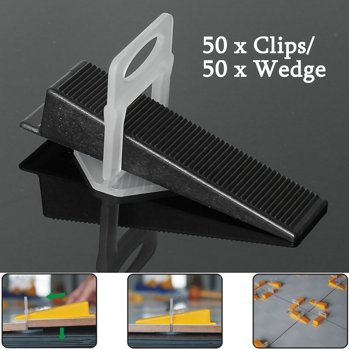 Tile leveling system kit 50 clips 50 wedges wall floor spacer image is loading tile leveling system kit 50 clips 50 wedges dailygadgetfo Image collections