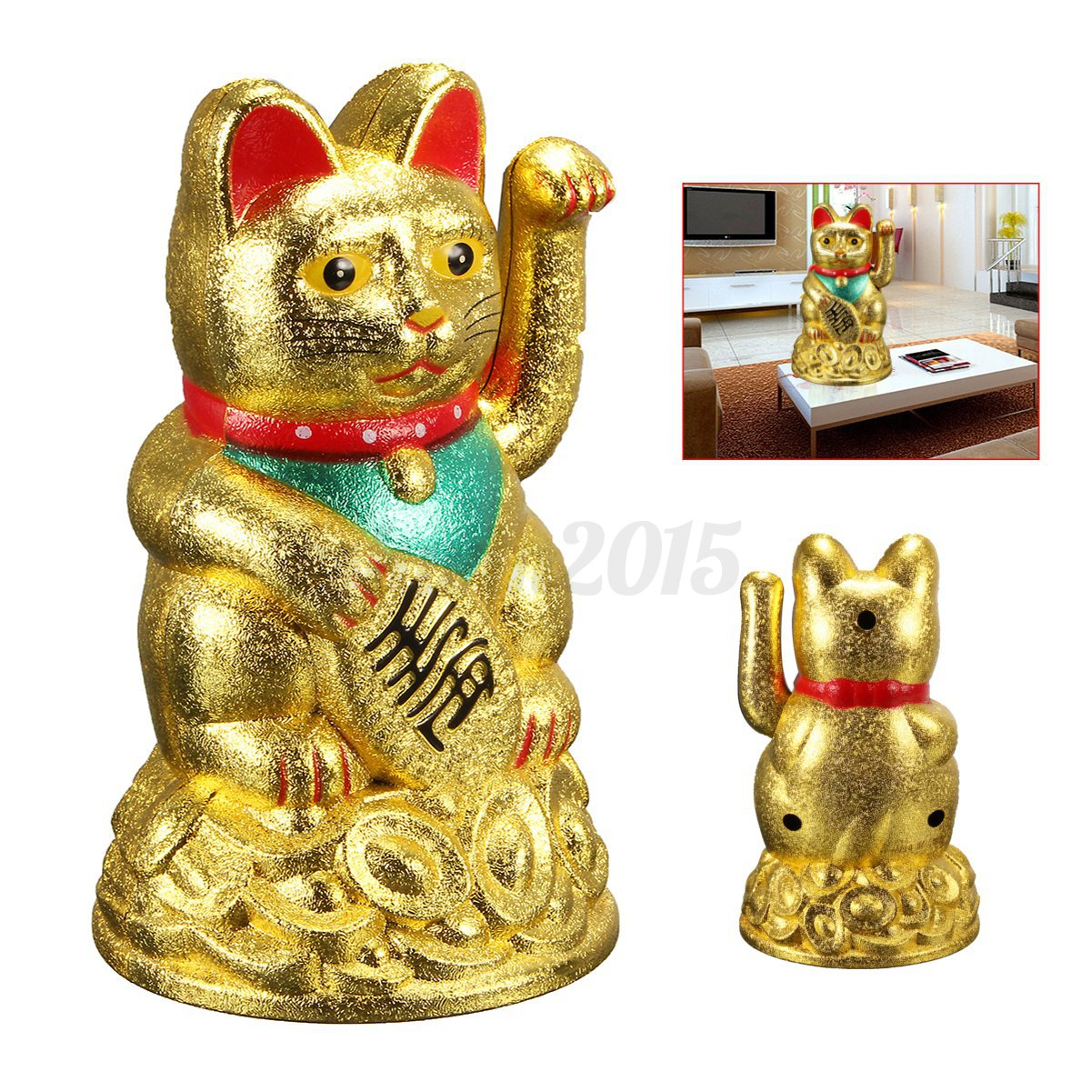 4 5 feng shui fortune gold ingot chinese lucky wealth waving cat by aa battery 936746777862 ebay. Black Bedroom Furniture Sets. Home Design Ideas