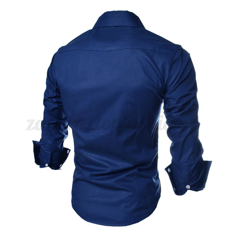 INCERUN Mens Casual Shirt Fitted Long Sleeve 100% Cotton Business ...