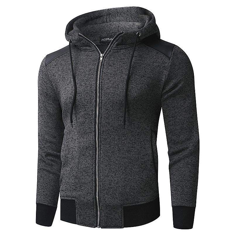 INCERUN-Men-039-s-Zip-Up-Hoodie-Patchwork-Jacket-Sweatshirt-Hooded-Sport-Pullover thumbnail 2