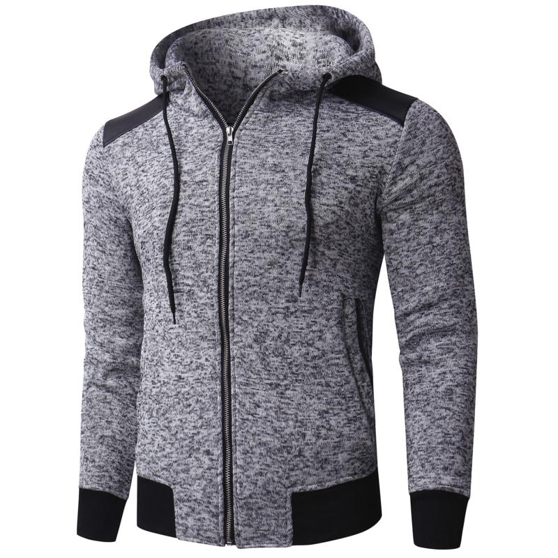 INCERUN-Men-039-s-Zip-Up-Hoodie-Patchwork-Jacket-Sweatshirt-Hooded-Sport-Pullover thumbnail 3