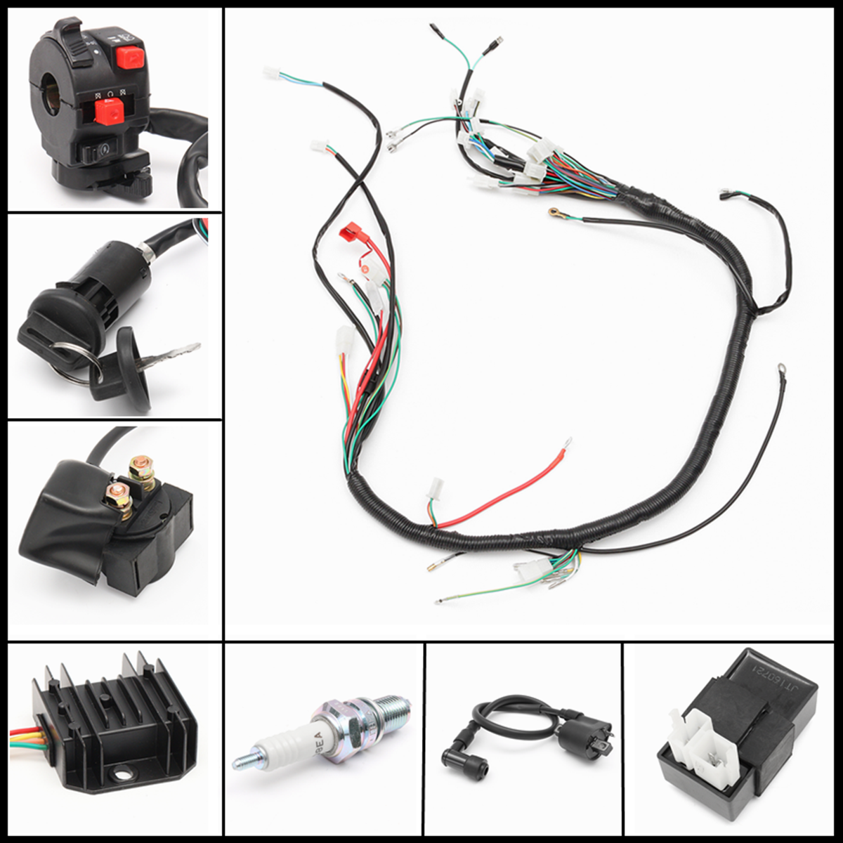 wiring harness loom solenoid coil rectifier cdi fit 120. Black Bedroom Furniture Sets. Home Design Ideas