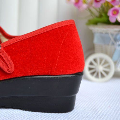 Women-039-s-Mid-Wedge-Heel-Mary-Jane-Hotel-Work-Strap-Ballet-Cotton-Buckle-Shoes thumbnail 9