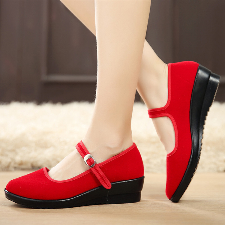 Women-039-s-Mid-Wedge-Heel-Mary-Jane-Hotel-Work-Strap-Ballet-Cotton-Buckle-Shoes thumbnail 2