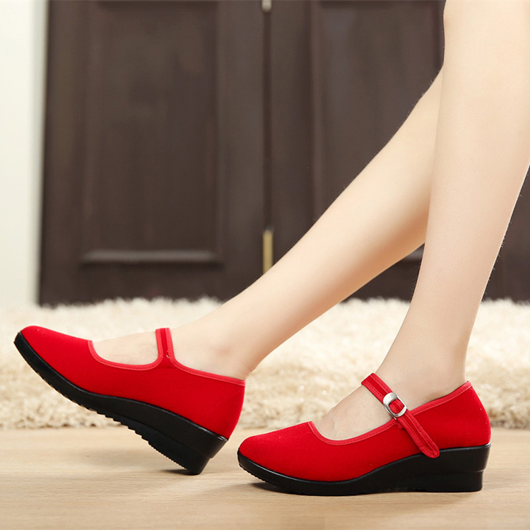 Women-039-s-Mid-Wedge-Heel-Mary-Jane-Hotel-Work-Strap-Ballet-Cotton-Buckle-Shoes thumbnail 3