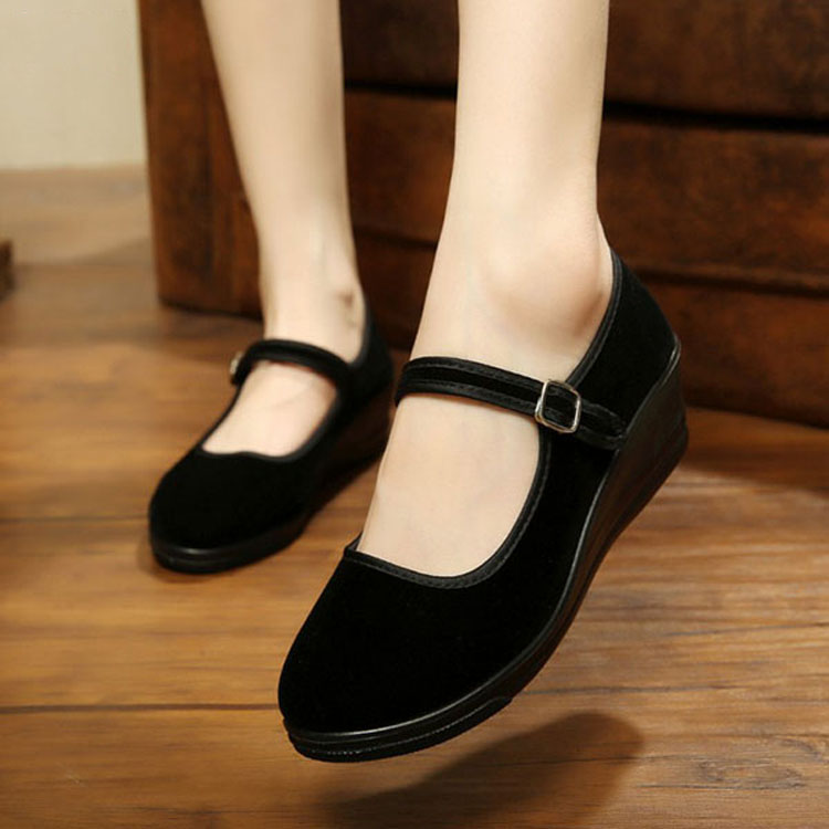 Women-039-s-Mid-Wedge-Heel-Mary-Jane-Hotel-Work-Strap-Ballet-Cotton-Buckle-Shoes thumbnail 4
