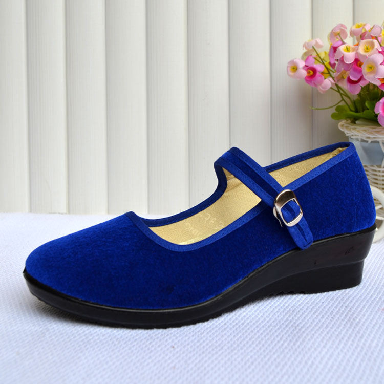 Women-039-s-Mid-Wedge-Heel-Mary-Jane-Hotel-Work-Strap-Ballet-Cotton-Buckle-Shoes thumbnail 6