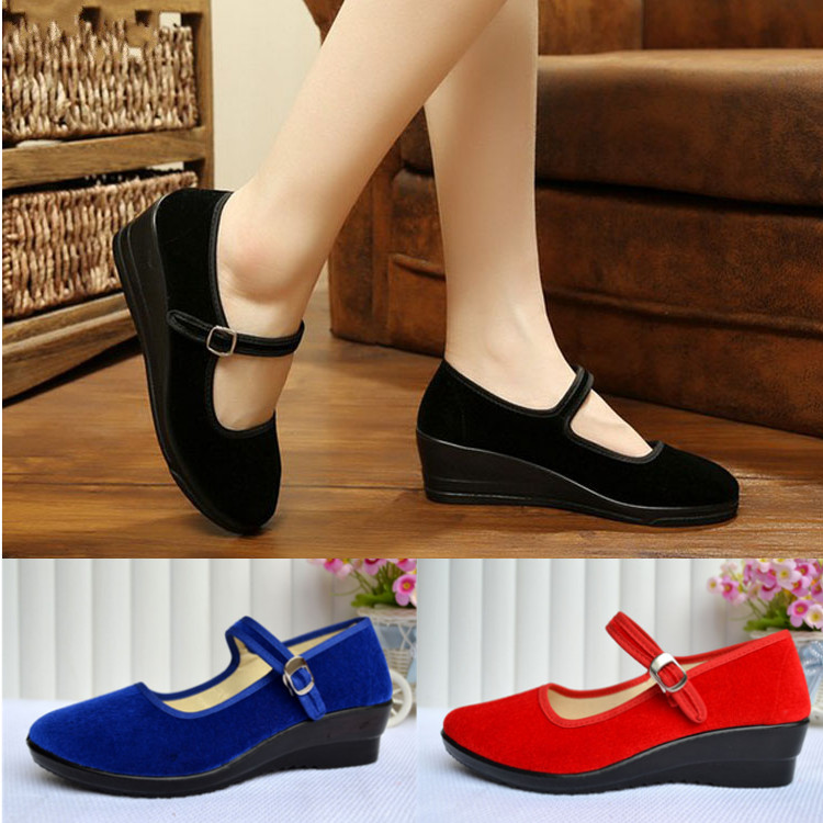Women-039-s-Mid-Wedge-Heel-Mary-Jane-Hotel-Work-Strap-Ballet-Cotton-Buckle-Shoes