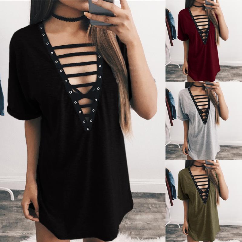 793309a521 ZANZEA Women Short Sleeve Top T-Shirt Sundress Club Party V Neck ...
