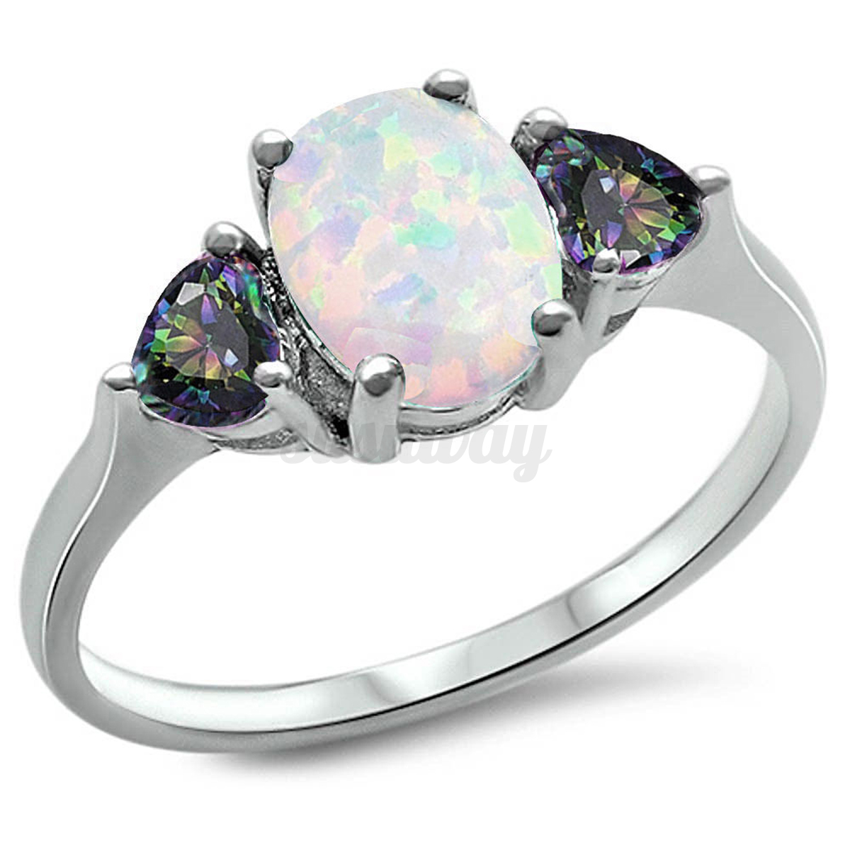 Sterling Silver Australian White Fire Opal Ring Wedding Engagement Size 6 9