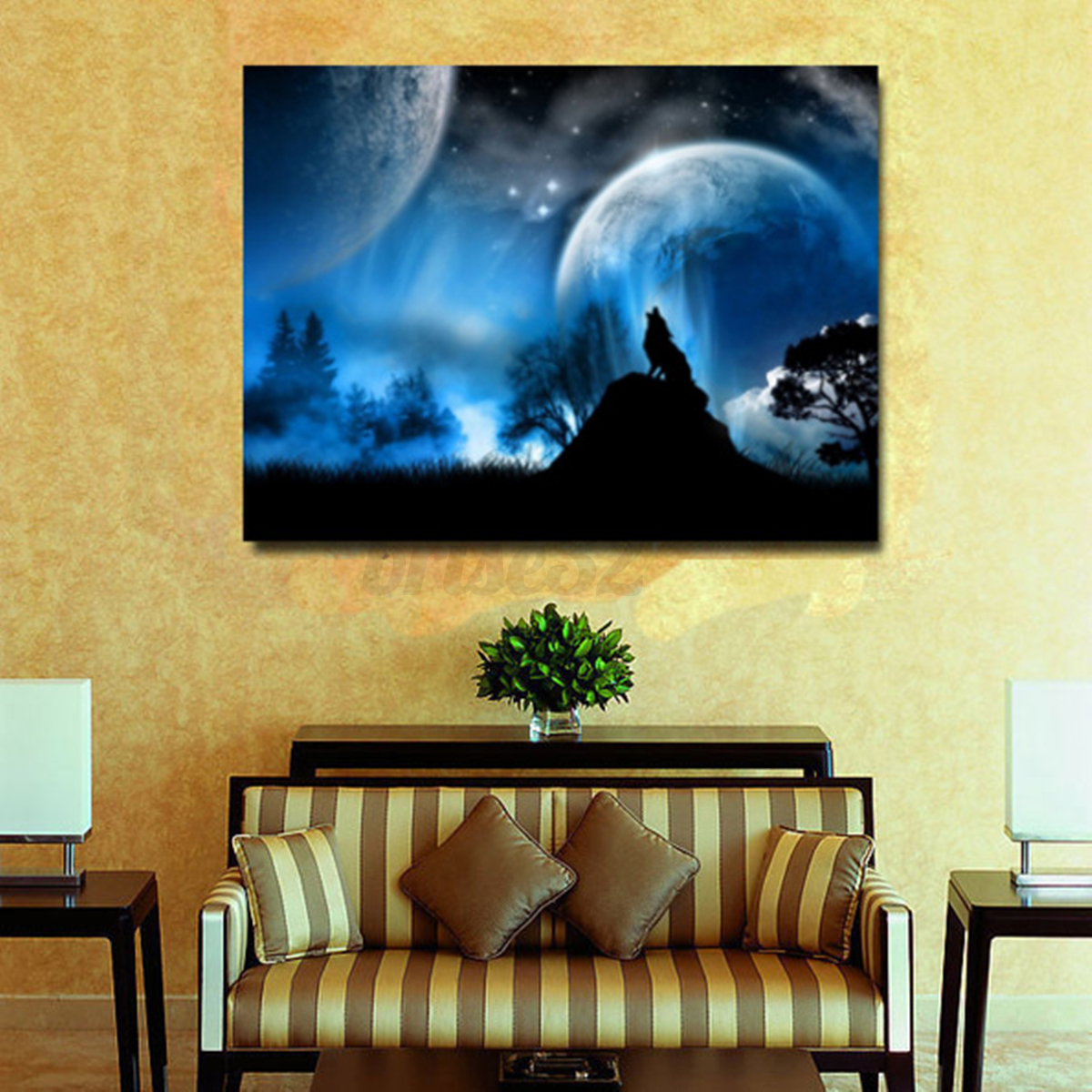 Wolf Moon Modern Canvas Oil Painting Print Picture Home Wall Art ...