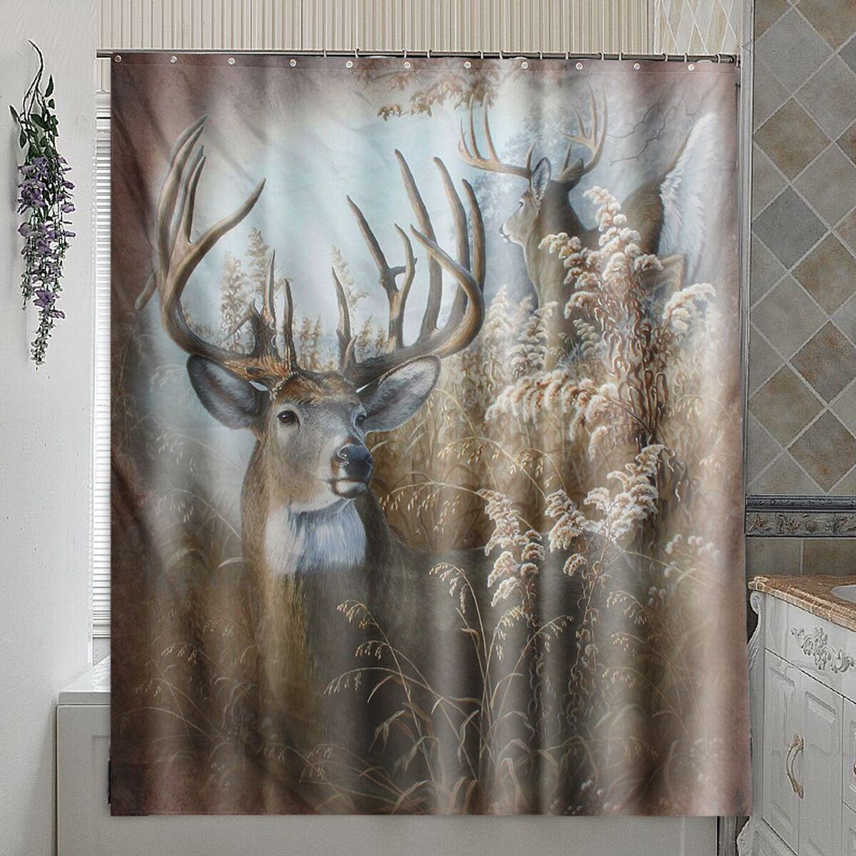 Deer polyester fabric shower curtain panel sheer home for Hunting bathroom decor