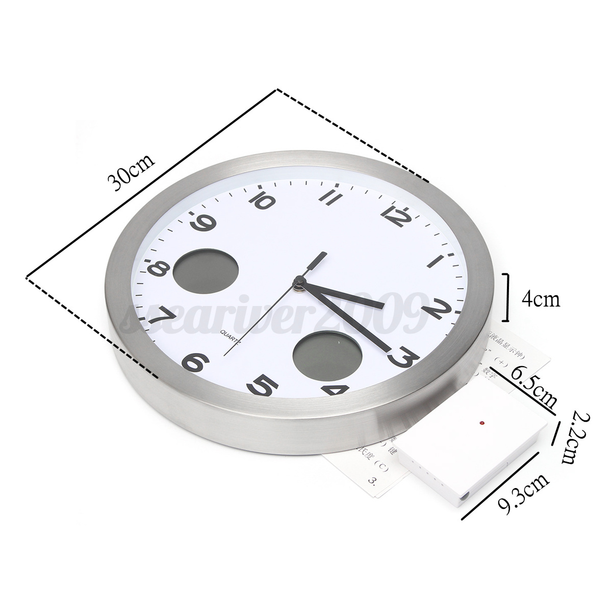 stainless steel wall clock thermometer with indoor outdoor temperature decor ebay. Black Bedroom Furniture Sets. Home Design Ideas