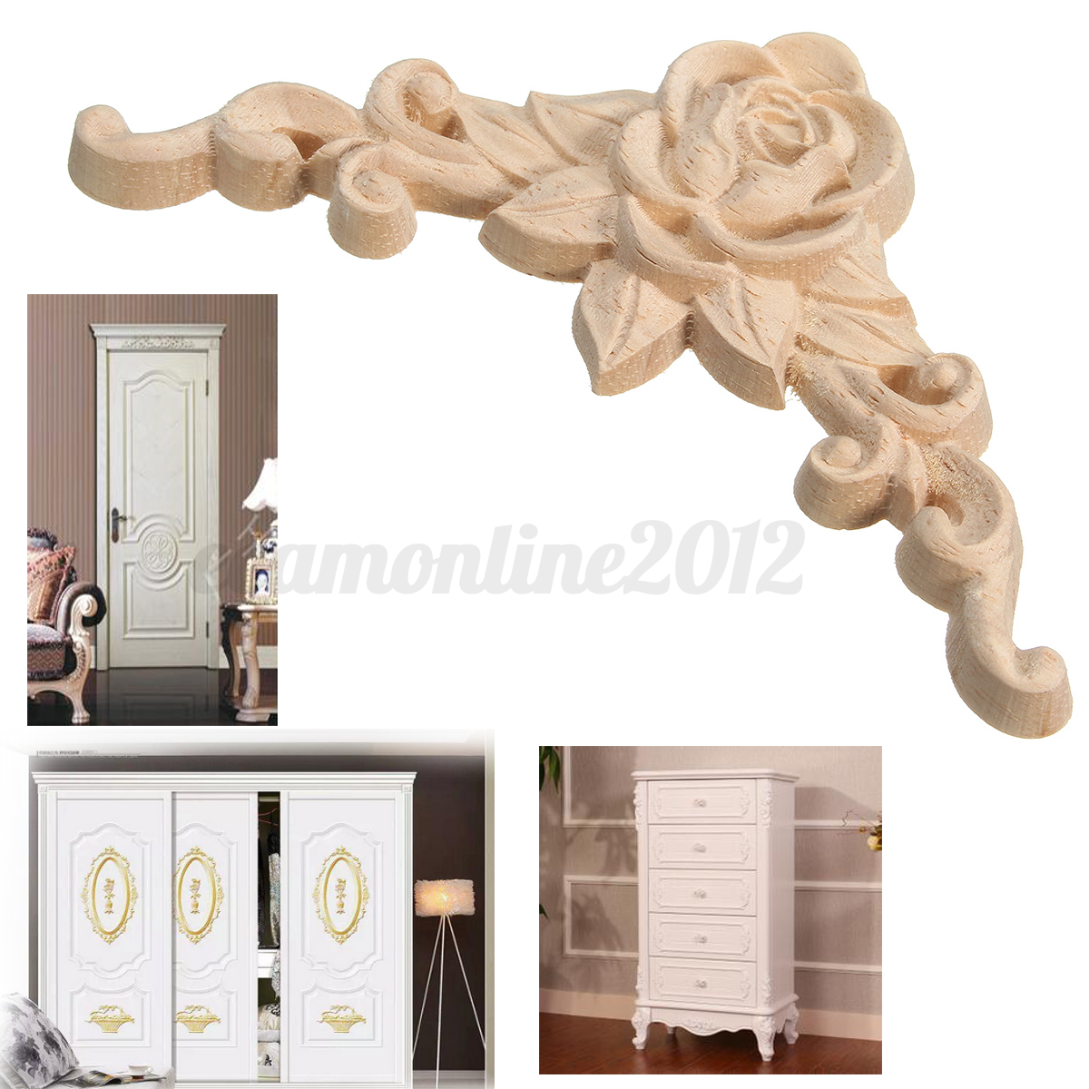 4x 8 8cm wood carved corner onlay applique frame unpainted for Applique furniture decoration