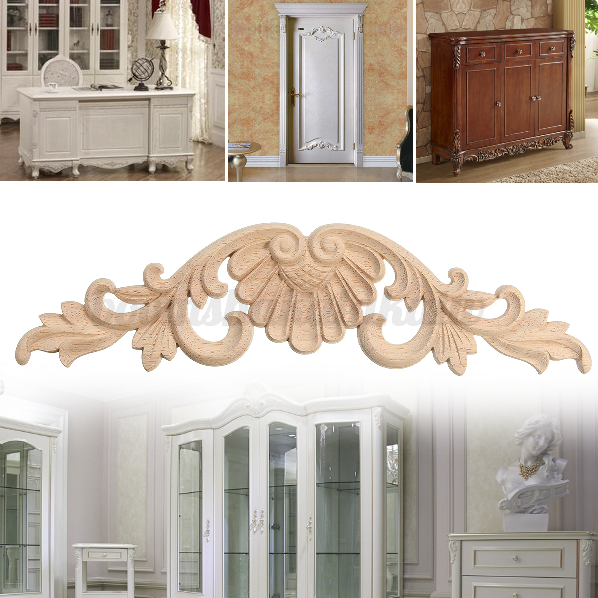 Modern wood carved corner onlay applique carving decor for Applique furniture decoration