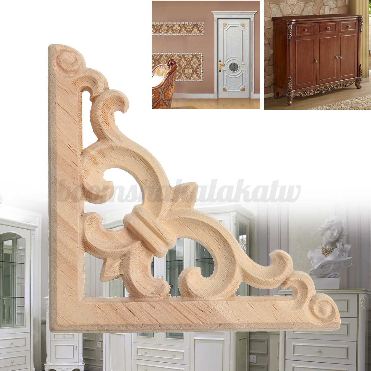 Modern Wood Carved Corner Onlay Applique Carving Decor Furniture Craft Unpainted Ebay