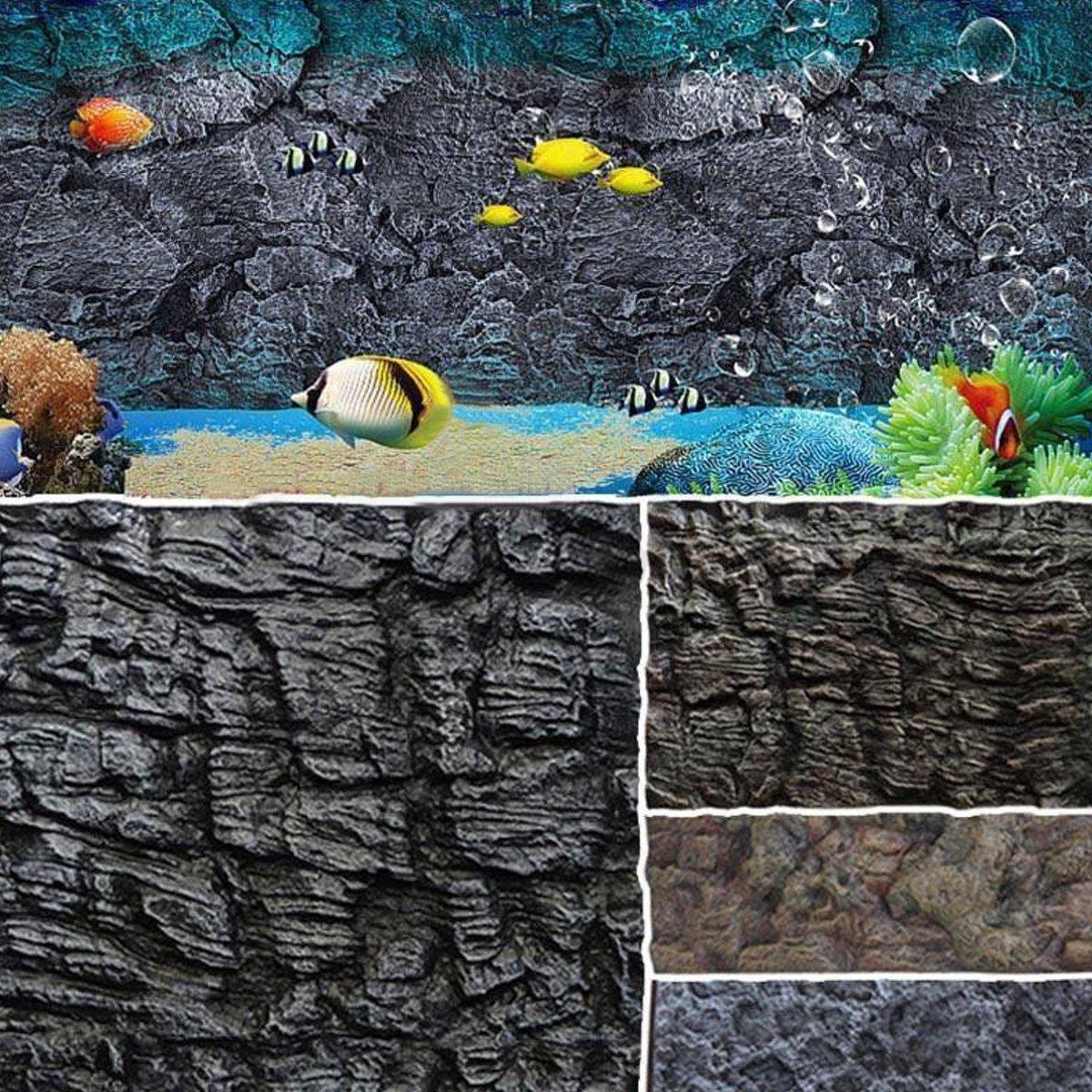 2x 3d aquarium hintergrund terrarium r ckwand steine aquariumr ckwand 60x45cm ebay - 3d ruckwand aquarium 150x60 ...