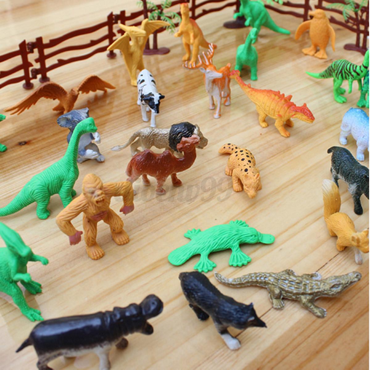 8 Toys Yeards : Pcs farm yard wild fence tree animals model kids toys