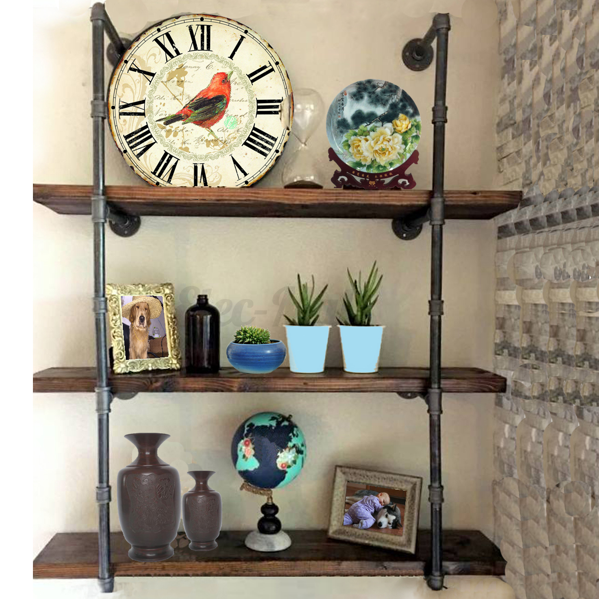 industrial retro design black iron pipe wall mount shelf. Black Bedroom Furniture Sets. Home Design Ideas
