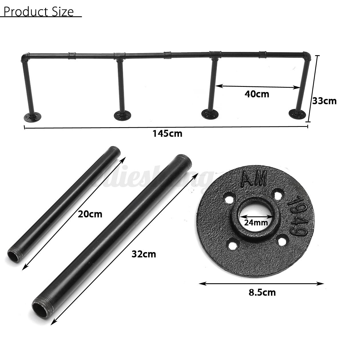 industrial retro iron pipe shelf wall mount storage shelving brackets home diy ebay. Black Bedroom Furniture Sets. Home Design Ideas
