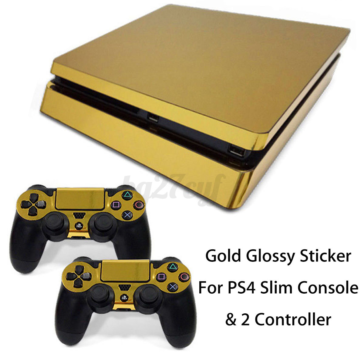 for playstation 4 ps4 slim console 2 controller gold sticker decal cover skin ebay. Black Bedroom Furniture Sets. Home Design Ideas