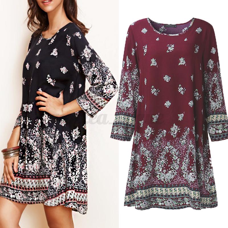AU-8-24-Boho-Vintage-Women-Long-Sleeve-Beach-Floral-Mini-Shirt-Dress-Tops-Blouse