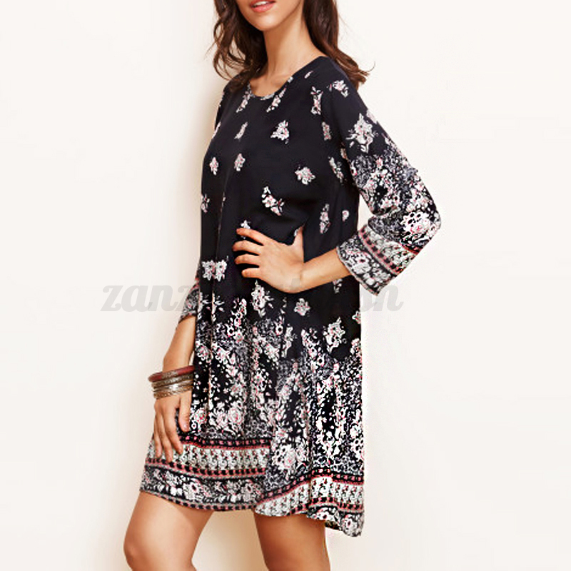 Zanzea-AU-8-24-Boho-Vintage-Women-Long-Sleeve-Beach-Floral-Mini-Shirt-Dress-Tops