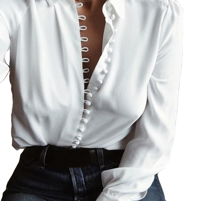Women V Neck Loose Lapel Neck Career Casual Button Shirt Tops Blouse T-shirt