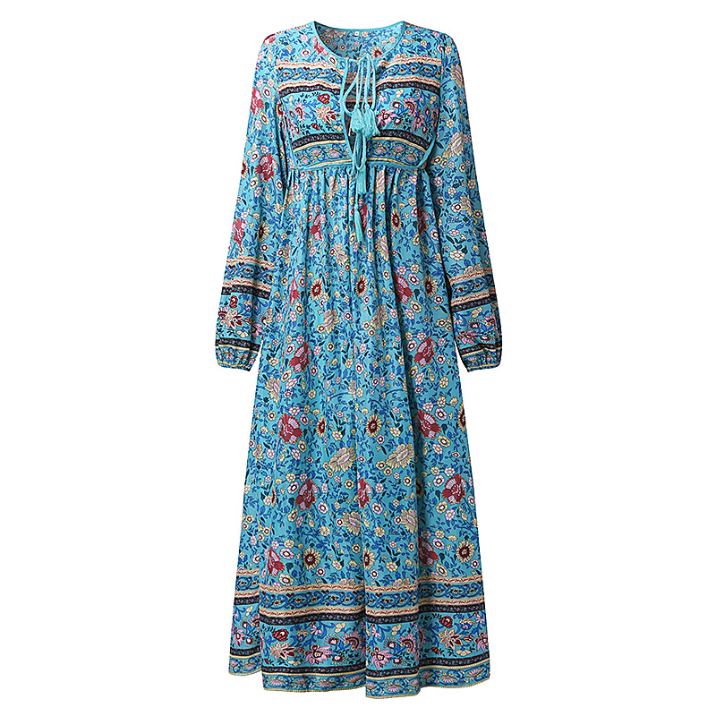 Elegance-Women-Lace-Up-V-Neck-Floral-Long-Maxi-Dress-Evening-Beach-Cocktail-Gown