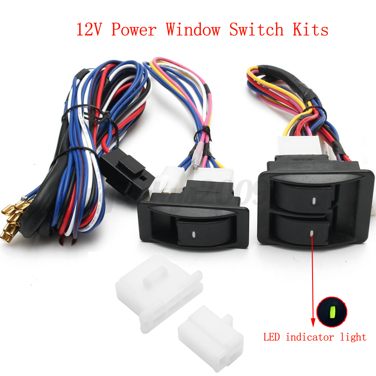 6pcs 12v Universal Power Window Switch Kits With Manual Guide
