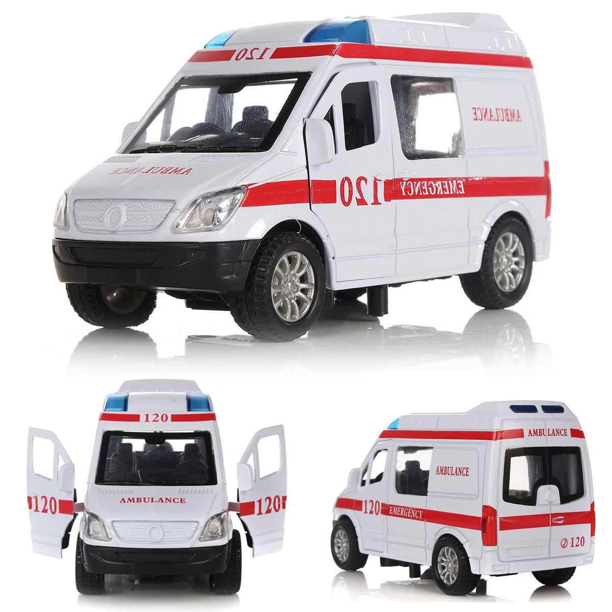 1:32 White Ambulance Vehicles Medical Car Model Toy Alloy Diecast ...