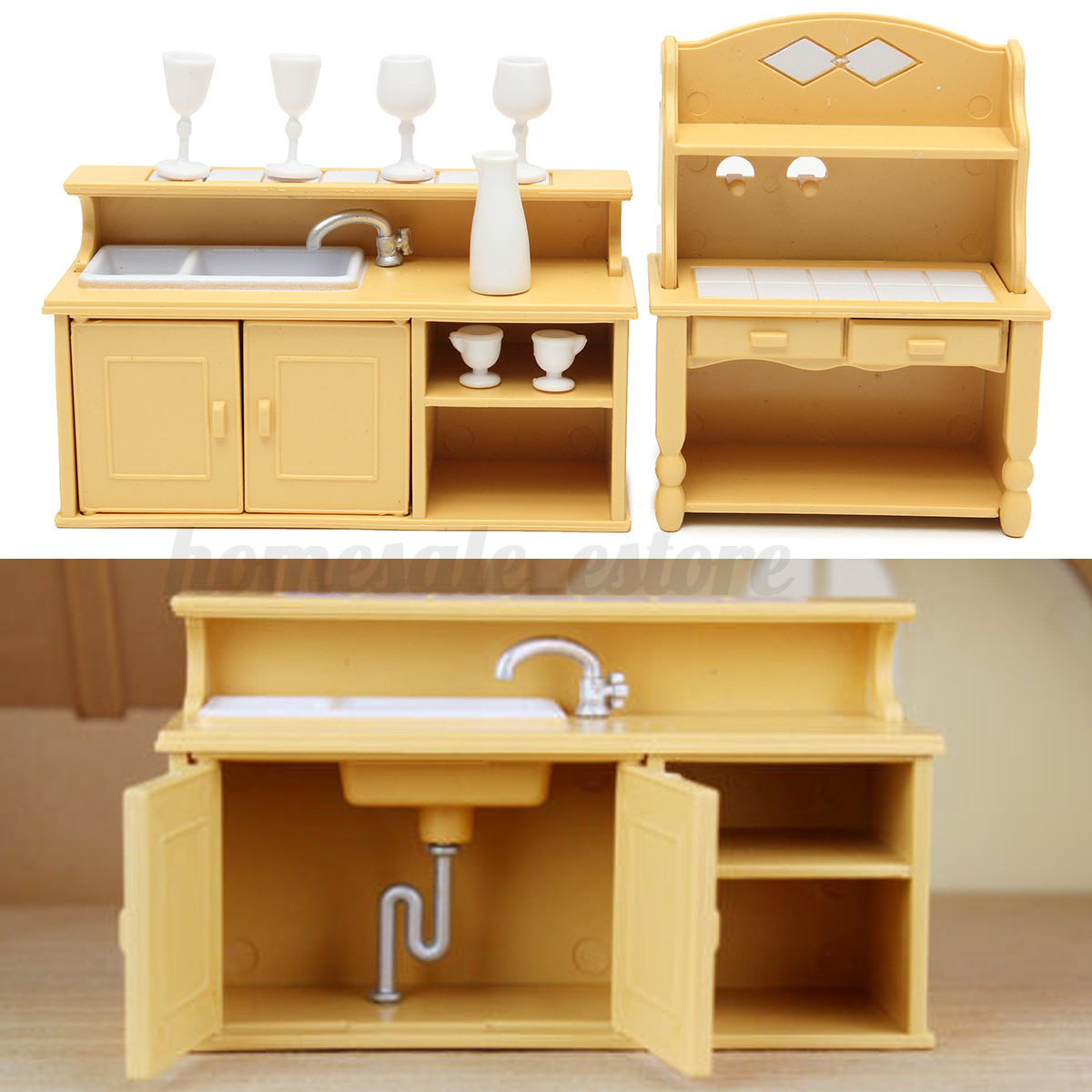 Cabinets Plastic Kitchen Miniature Dollhouse Furniture Dining Set Room Kids Toy Ebay