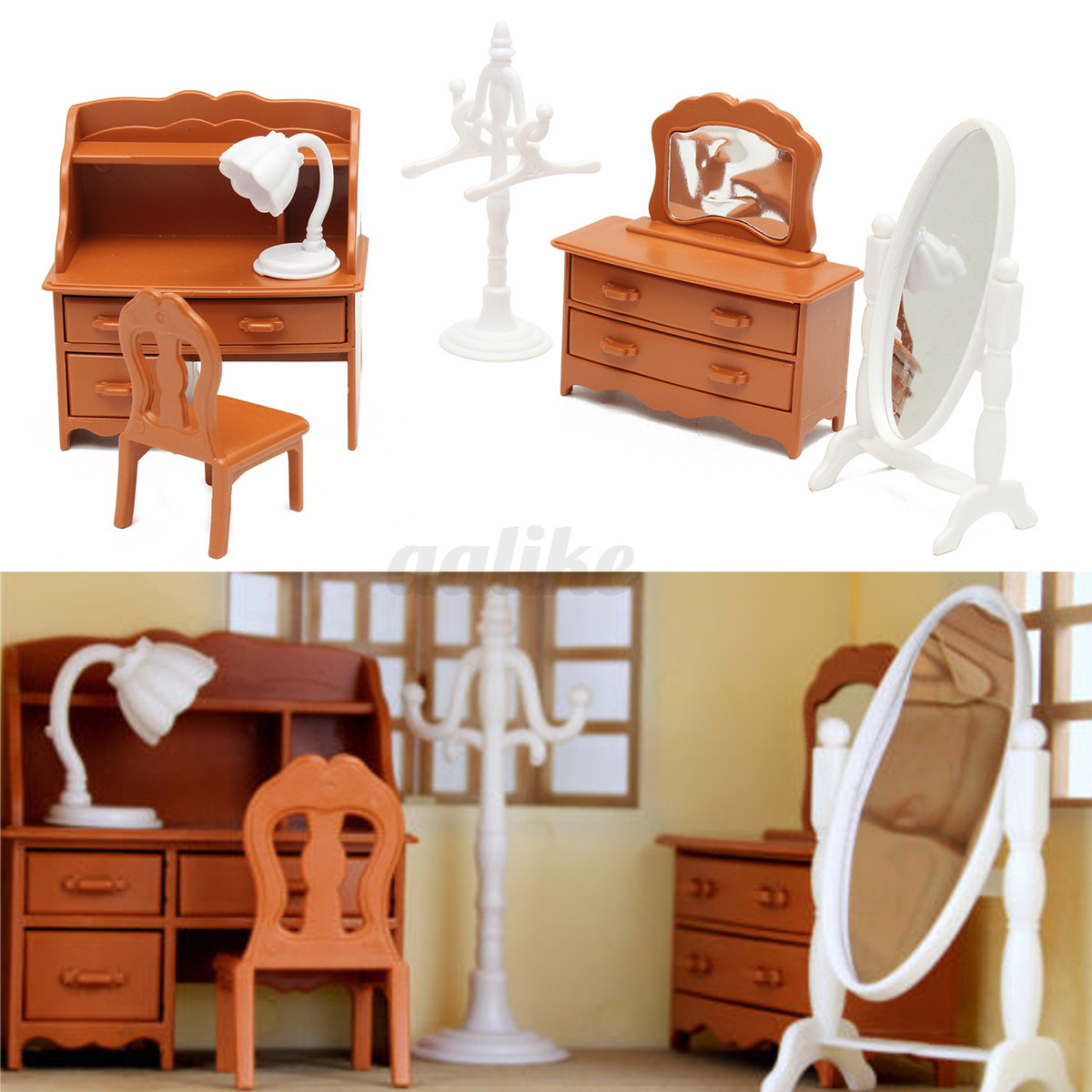 Plastic Table Miniature Doll House Furniture Toy Set Bathroom Kitchen Decoration Ebay
