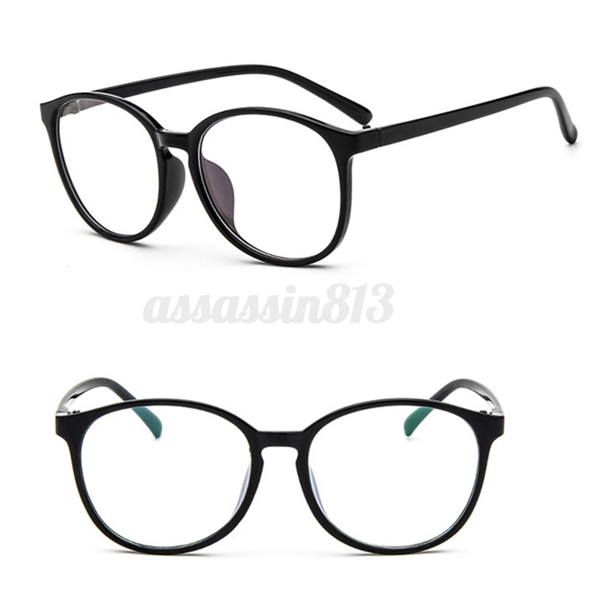 Men Women Clear Plain Lens Oval Plastic Full Frame Glasses Specs ...