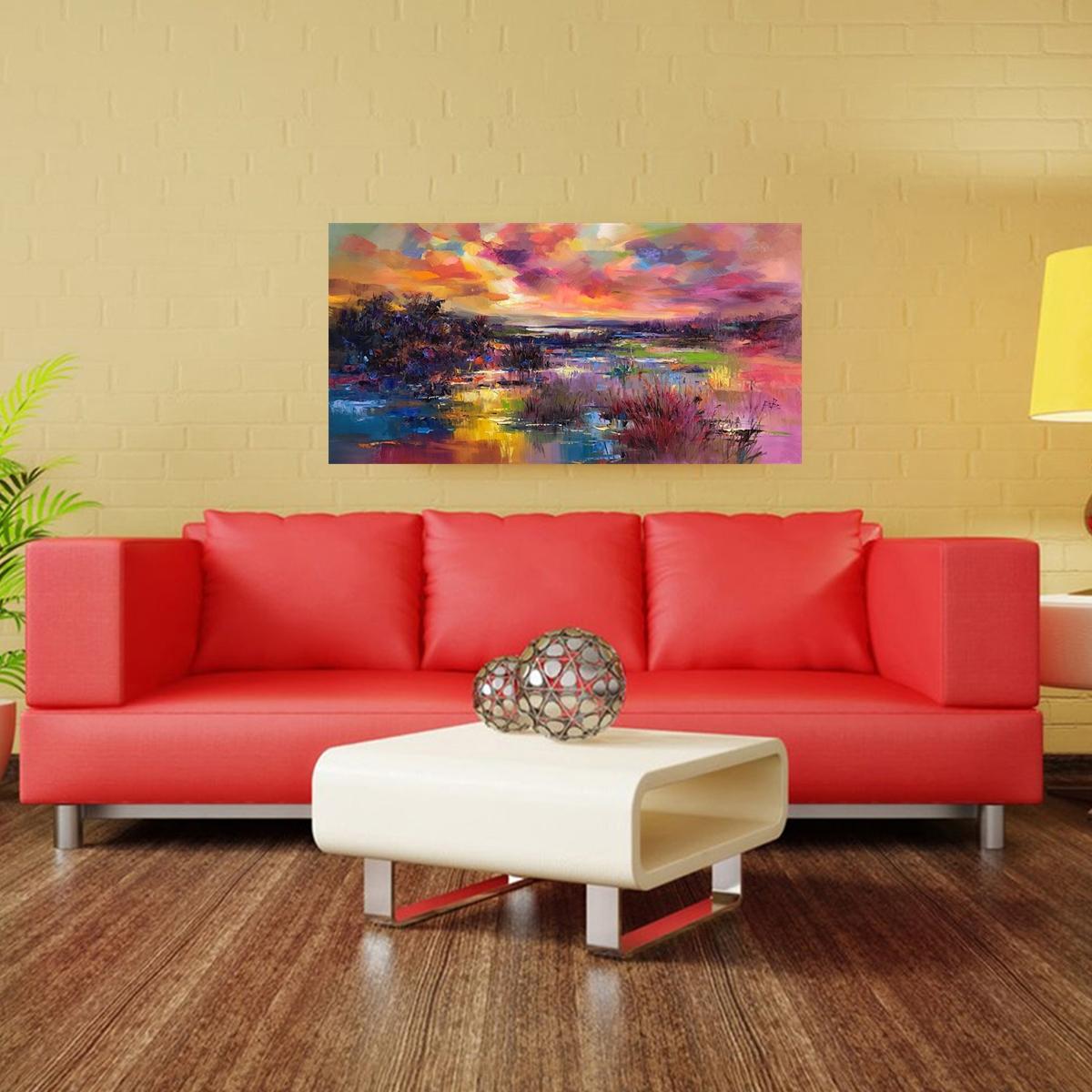 Leinwandbild Moderne Abstrakt See Landschaft Wohnzimmer