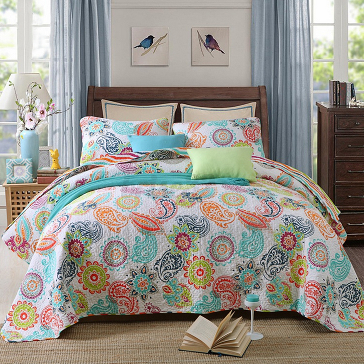 3pcs cotton quilted coverlet bedspread patchwork queen king size paisley set ebay. Black Bedroom Furniture Sets. Home Design Ideas