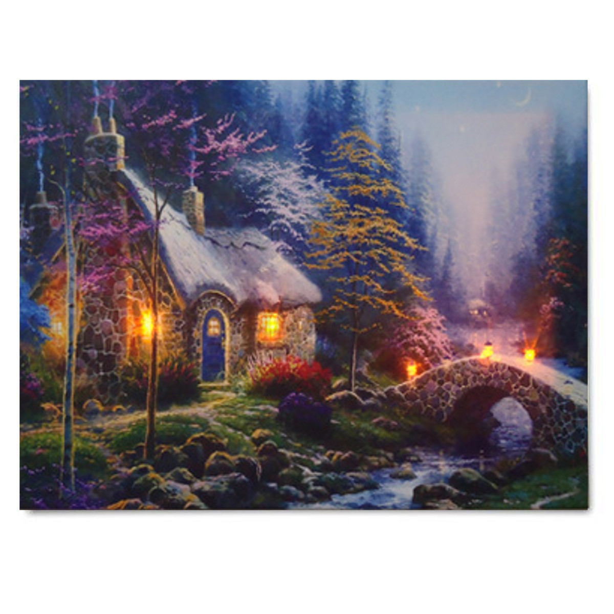 led forest house light up lighted canvas painting picture wall art home decor ebay. Black Bedroom Furniture Sets. Home Design Ideas