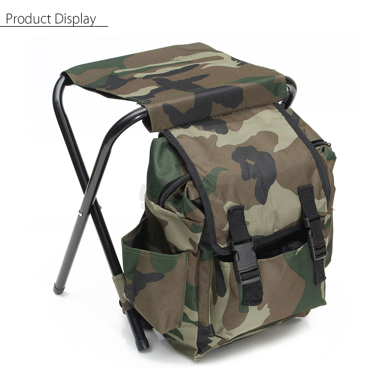 Foldable fishing stool seat chair backpack multi function for Fishing backpack chair