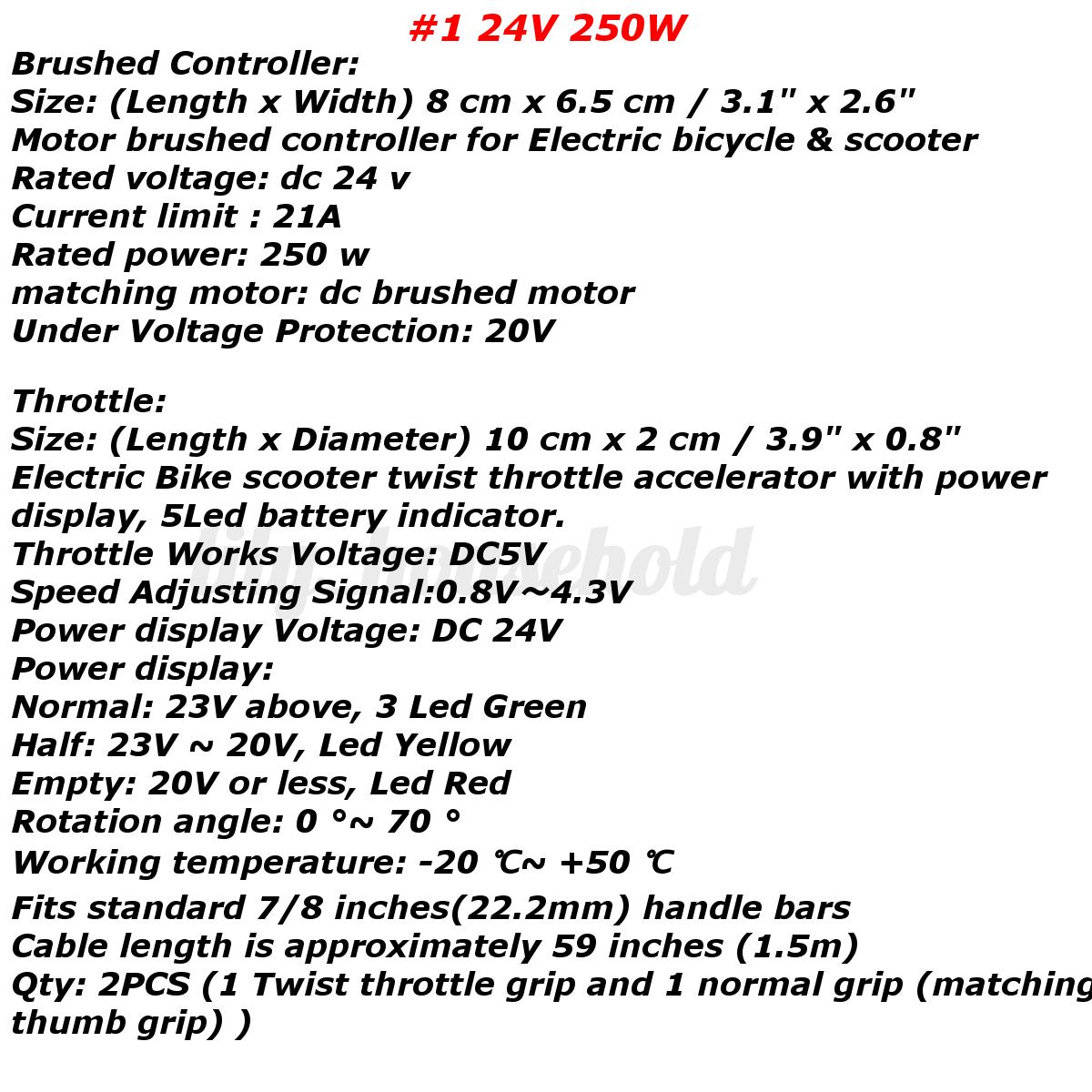 24//36//48V Bürstenmotor Controller Steuereinheit Gasgriff Steuergerät E-Bike