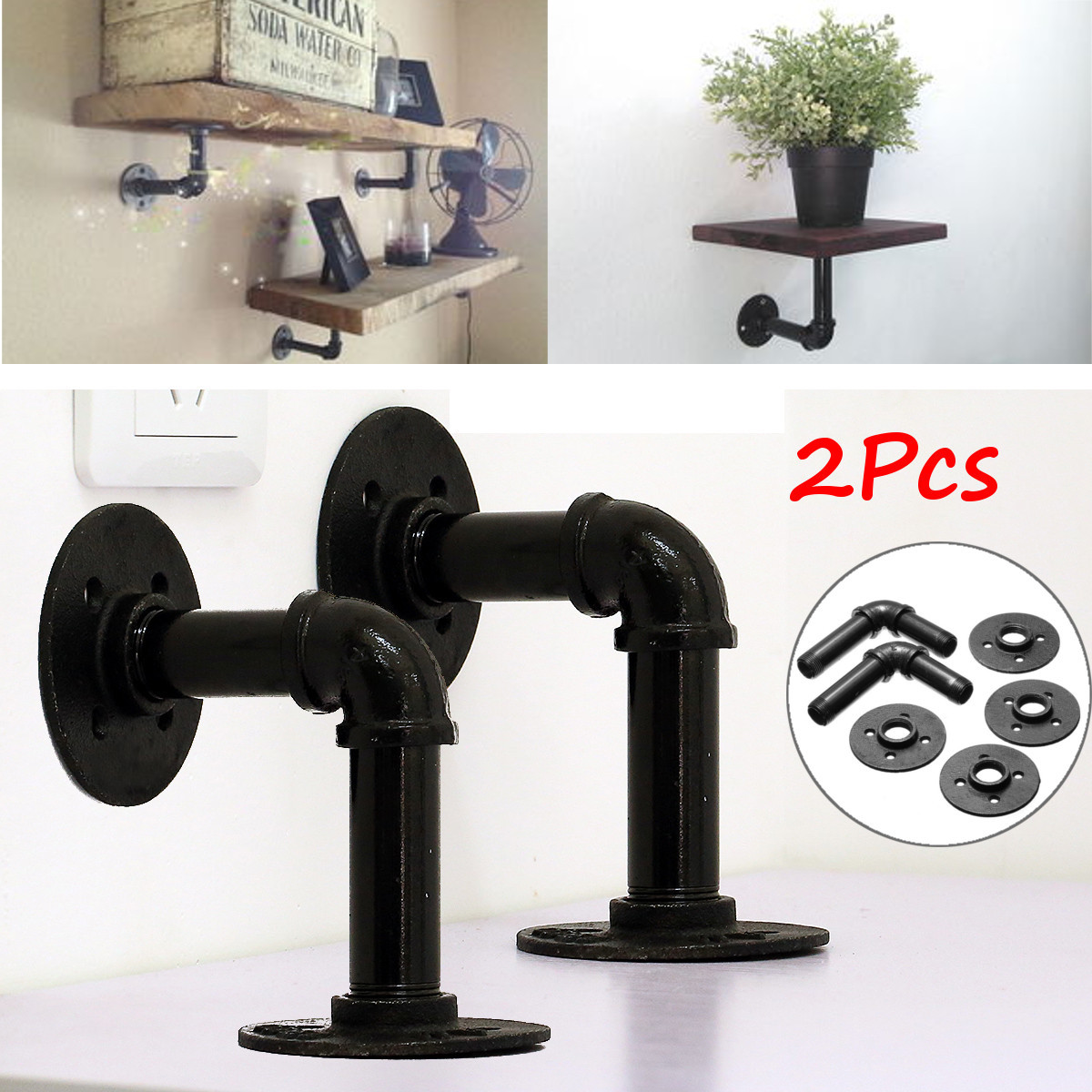 Industrial retro country style iron pipe shelf holder