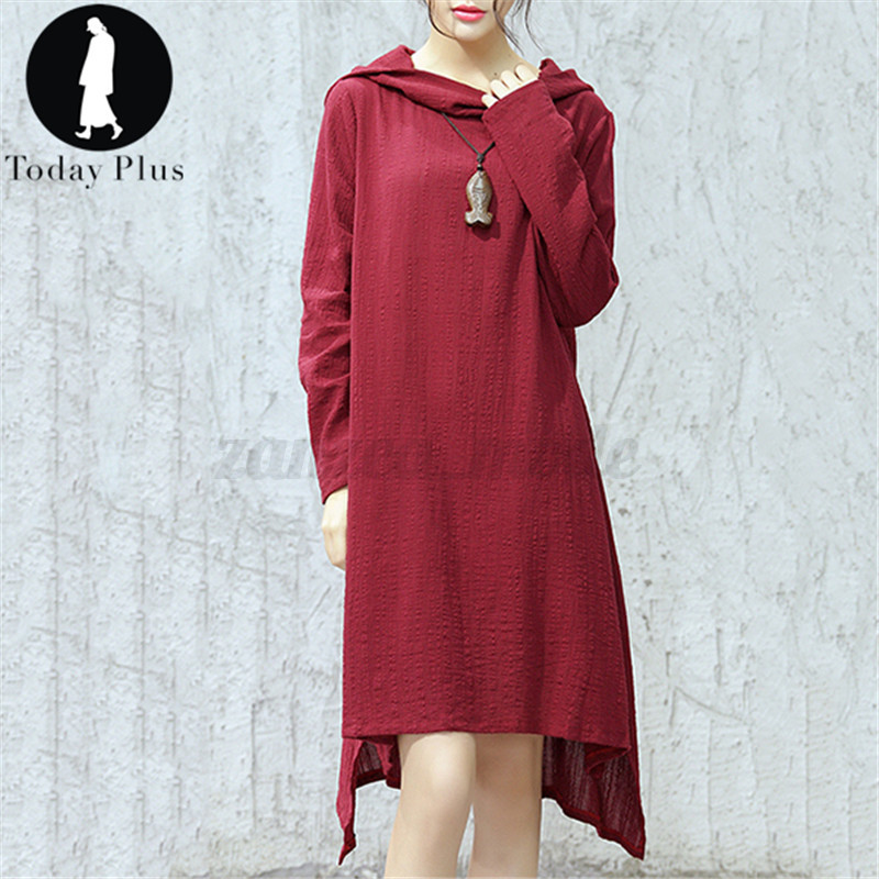 New Women Hoody Neck Asymmetrical Hem Long Sleeve Casual Loose Long Maxi Dress