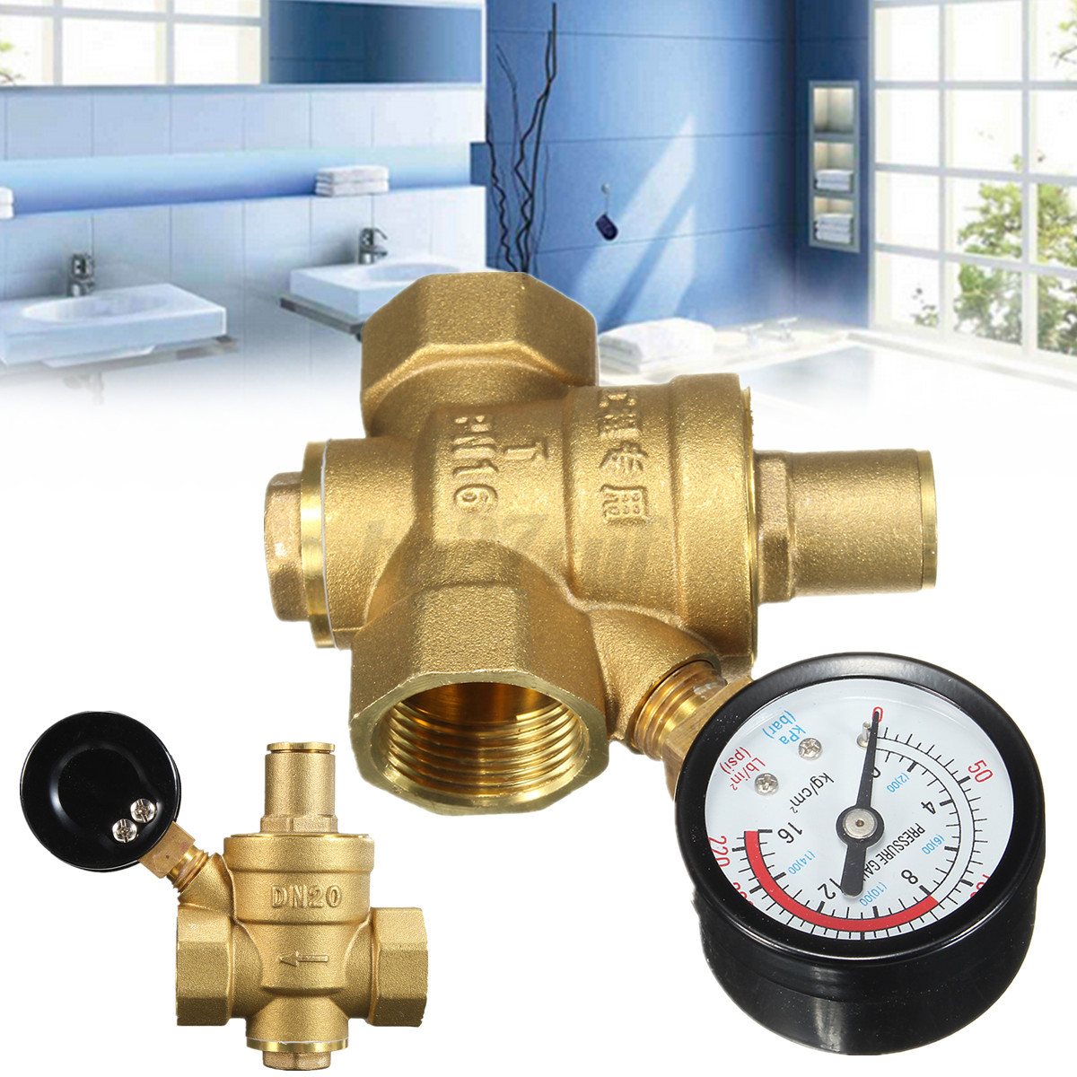 dn20 3 4 39 39 brass water valve pressure reducer gauge meter adjustable regulator ebay. Black Bedroom Furniture Sets. Home Design Ideas