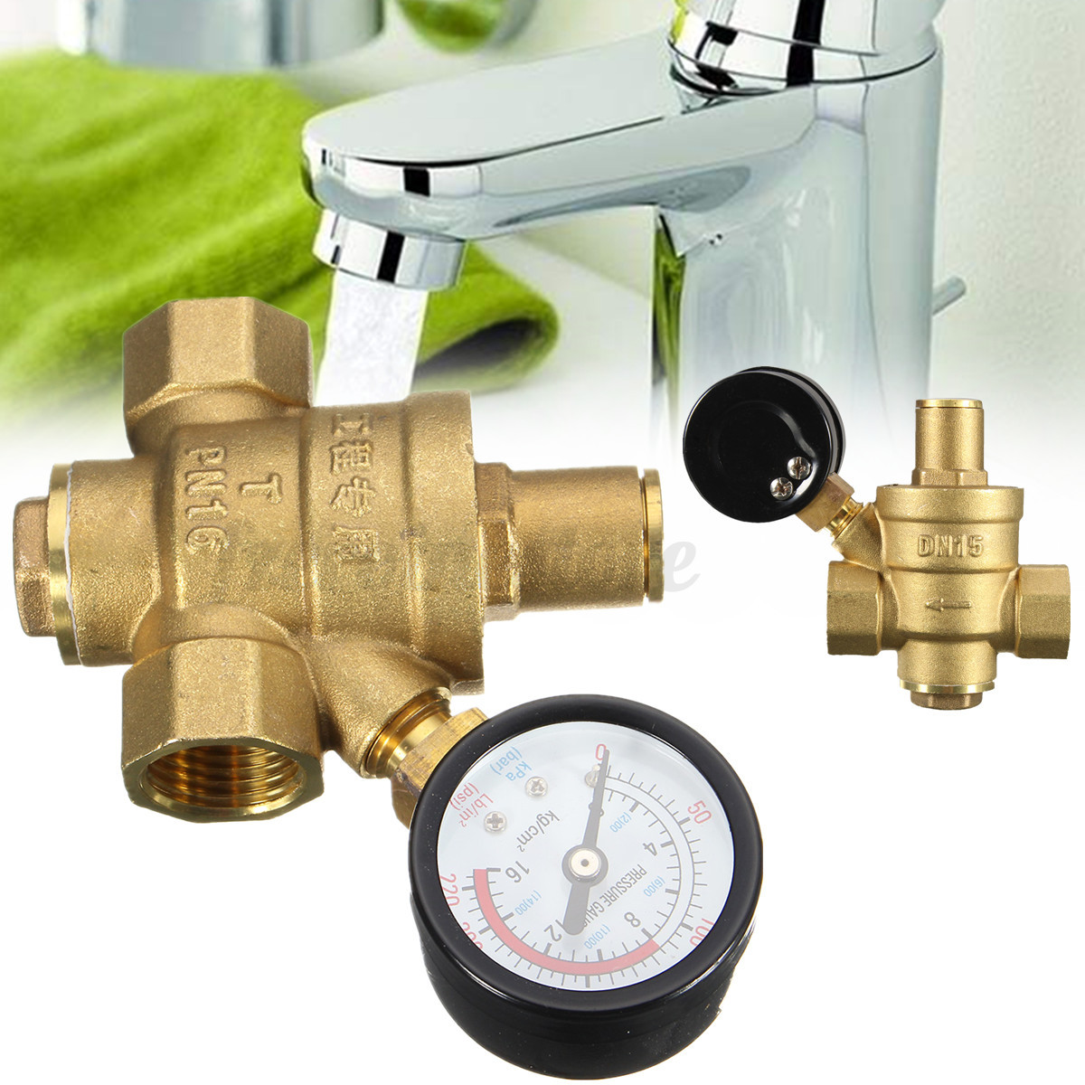 dn20 npt 39 39 adjustable brass water pressure regulator reducer with gauge meter ebay. Black Bedroom Furniture Sets. Home Design Ideas