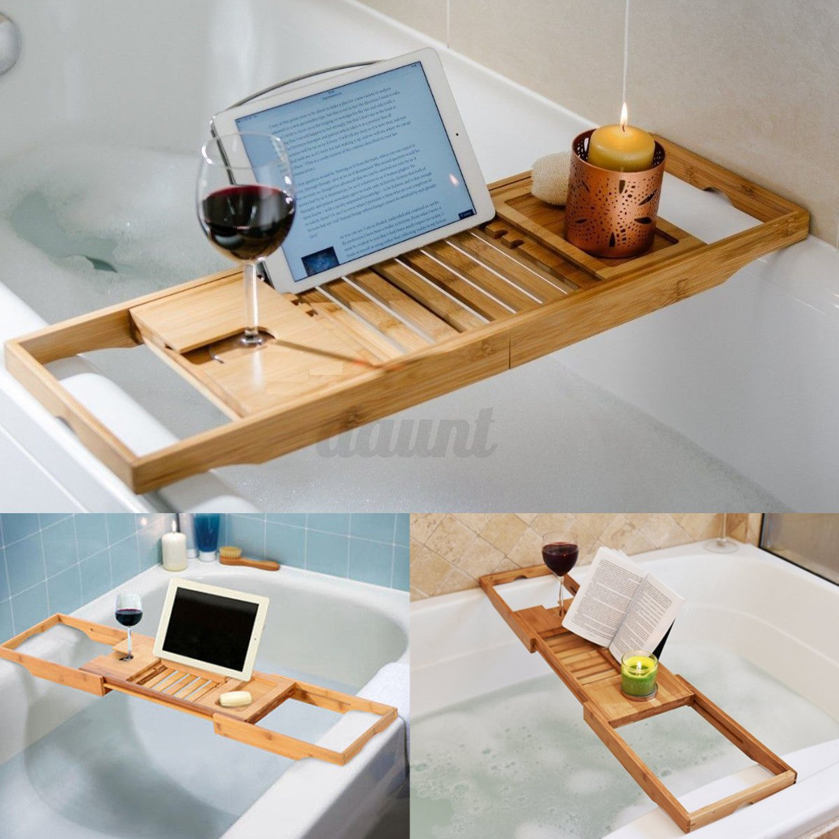 Bathtub Rack Bamboo Shelf Shower Tub Book Reading Tray