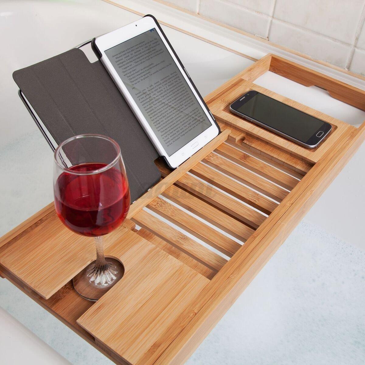Bathtub Rack Bamboo Shelf Shower Tub Book Reading Tray