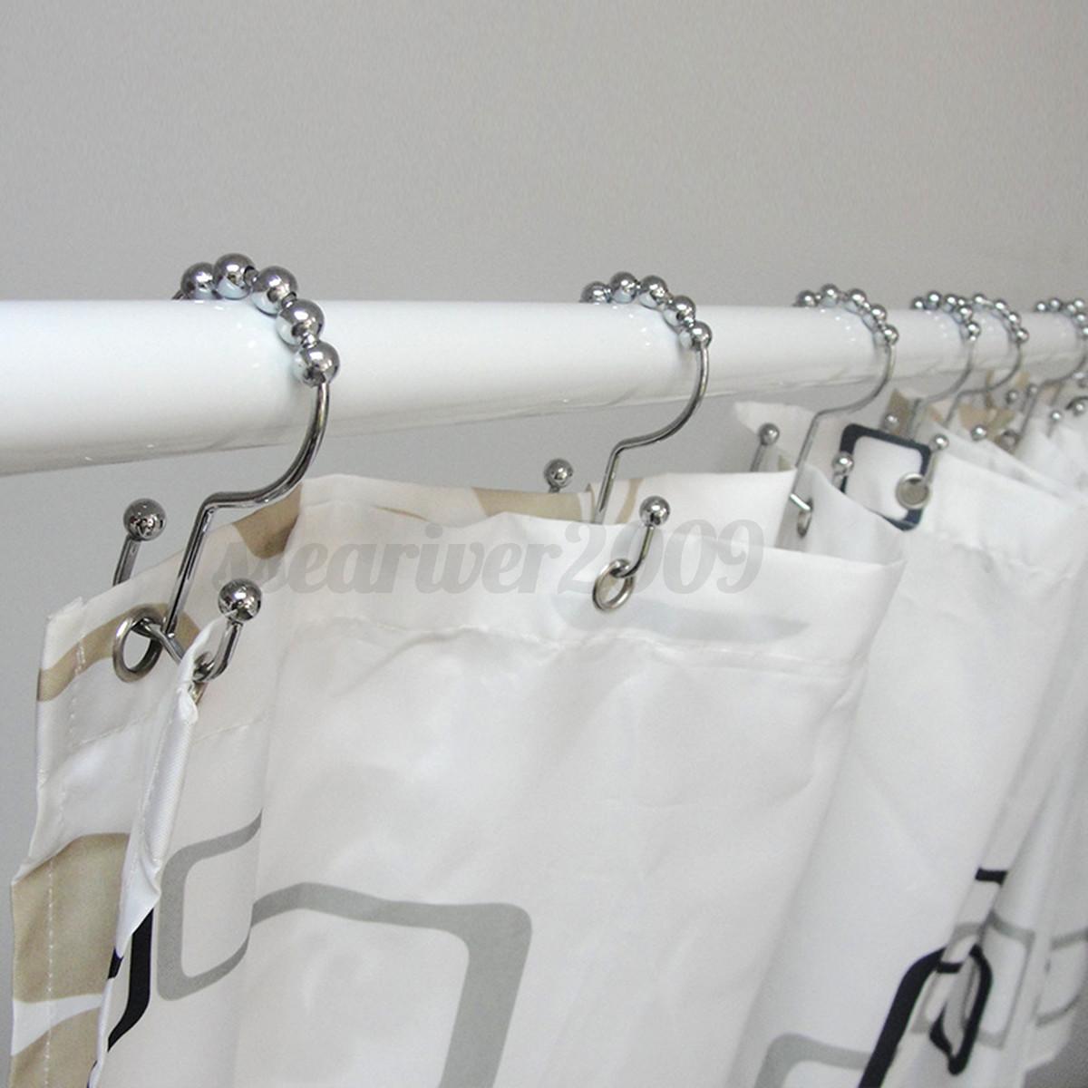 Bathroom Curtain Pole: 12Pcs Metal Double Glide Shower Curtain Rings Hooks