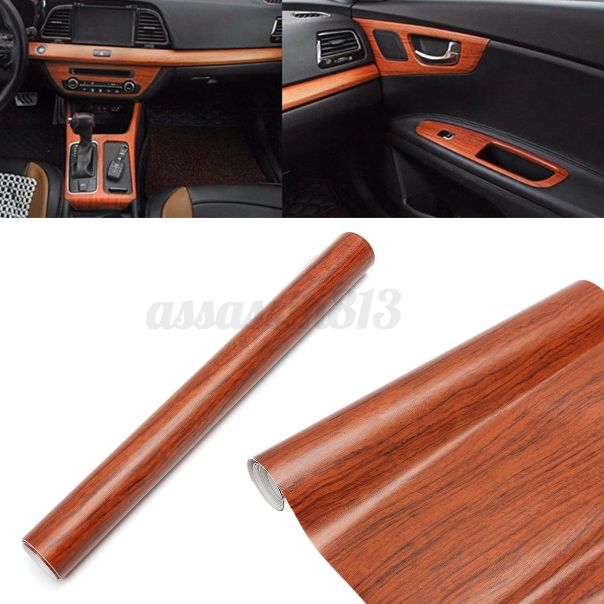 hot car interior brown wood textured grain vinyl wrap film sticker decal 12x48 ebay. Black Bedroom Furniture Sets. Home Design Ideas