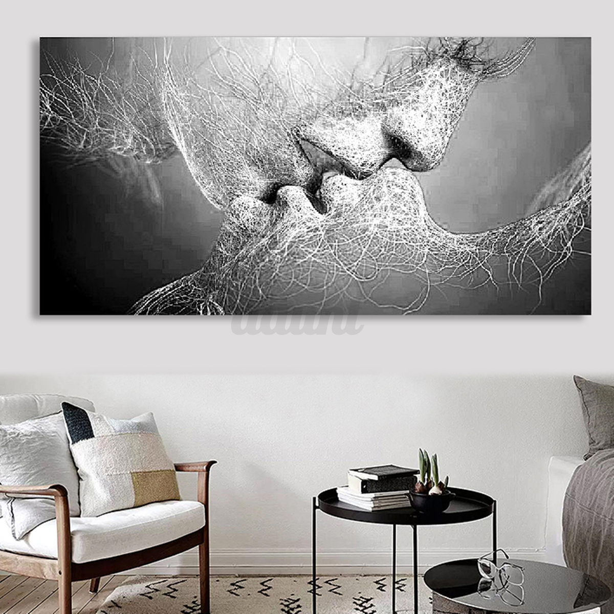 black white love kiss abstract art on canvas painting wall art picture print ebay. Black Bedroom Furniture Sets. Home Design Ideas
